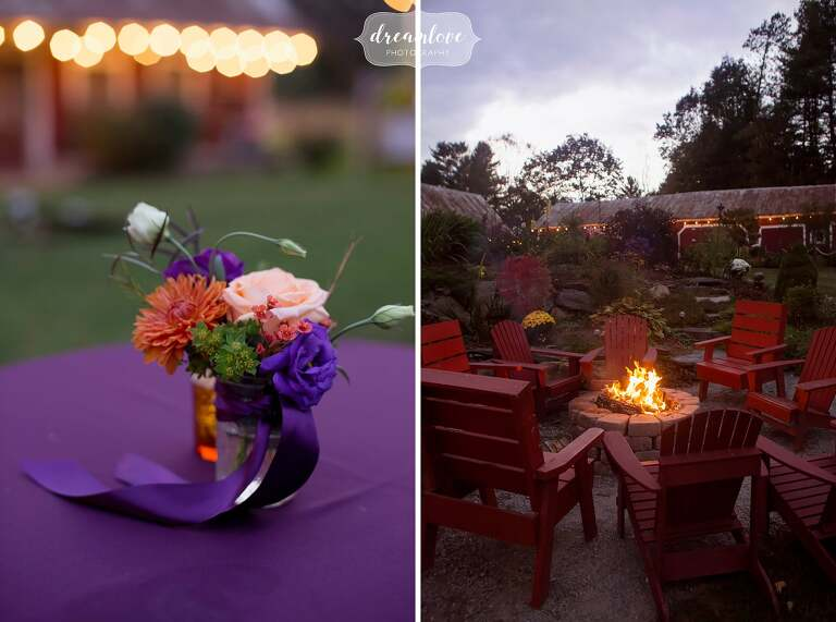 The fire pit is the perfect spot for guests to gather after dancing at the Bishop Farm in NH.