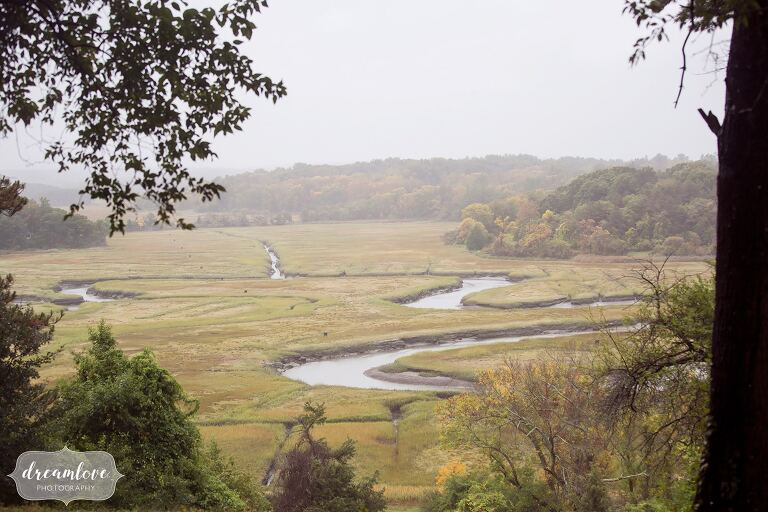 The Crane Estate storybook wedding venue is surrounded by salt marshes.