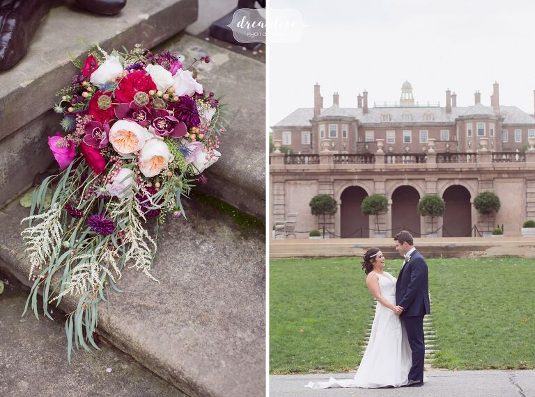 The bride and groom stand in front of this castle on the ocean at the Crane Estate.