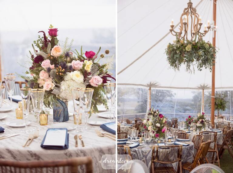 Crystals and geodes were used in the decor at this Crane Estate wedding on the northshore.
