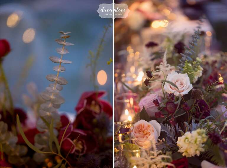 Romantic flowers by Ford Flower Co. are set on the tables at the Crane Estate.