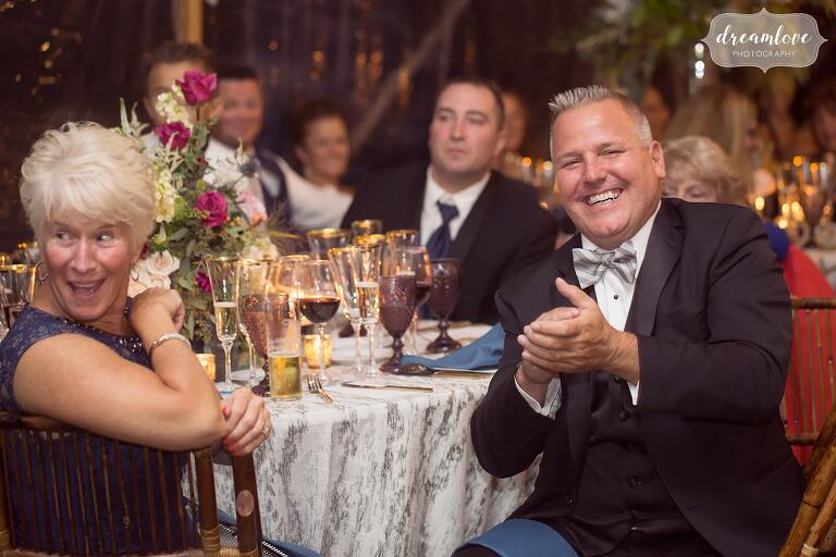 Guests clap after toasts at the Crane Estate epic venue.