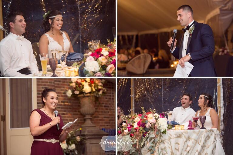 The best man and maid of honor give toasts at this tented reception by the ocean.