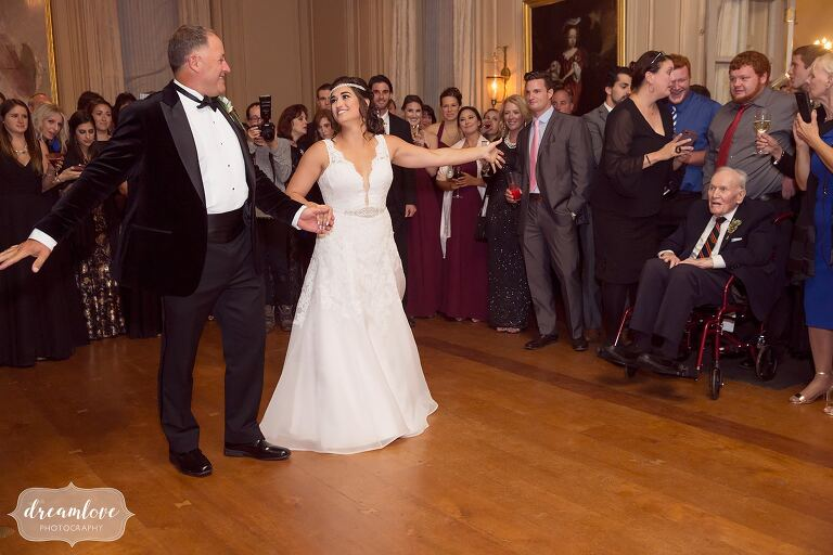 The bride and her father dance in the ballroom at the Crane Estate. This documentary photo proves how important these kinds of storytelling moments are!
