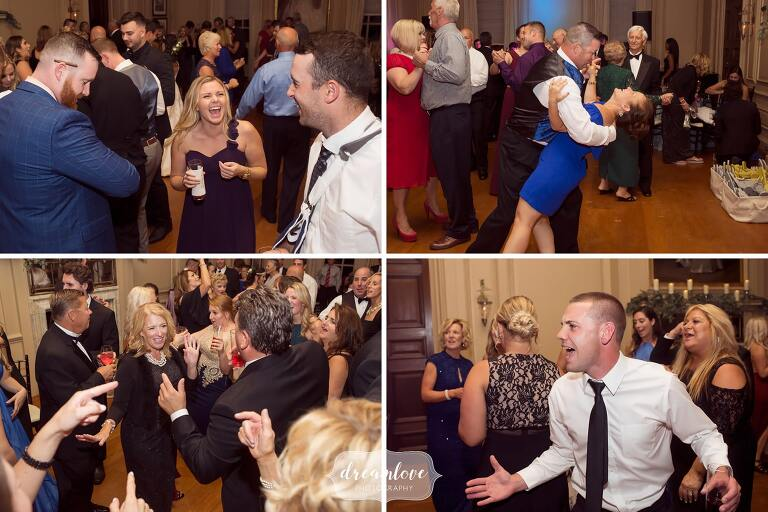 Funny dance moves while this great wedding band plays at the Crane Estate.