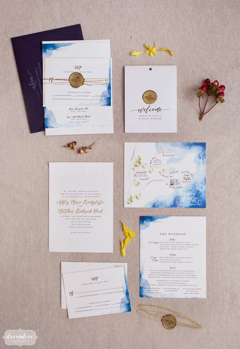 Letter press watercolor ombre wedding invitations and handmade map for a romantic wedding at the Crane Estate.