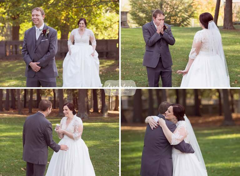 The bride and groom have their first look on the grounds of the Larz Anderson Auto Museum wedding venue in Boston.
