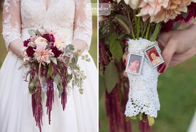 Beautiful fall foliage wedding bouquet with maroon and blush colors by Peppers Events in Boston.