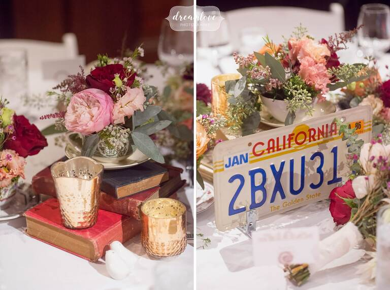 We loved the use of old license plates as table decor at this Larz Anderson Auto Museum wedding.