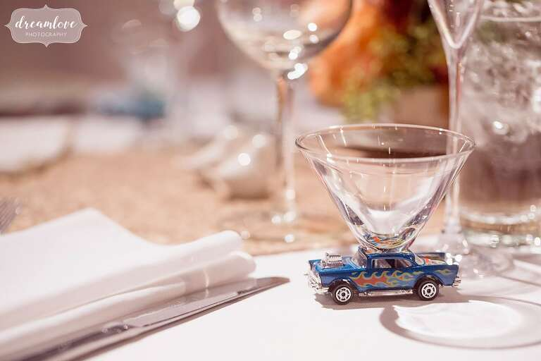 These antique car martini glasses at the sweetheart table were so unique!