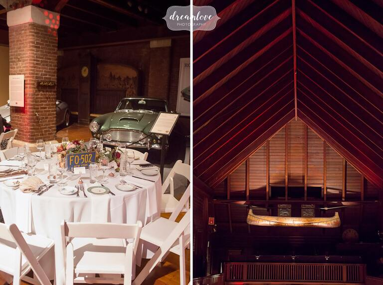 Details from the Larz Anderson Auto Museum wedding venue for an October wedding reception.
