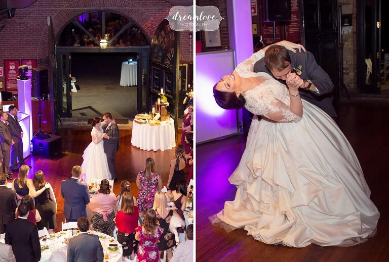 The groom dips the bride during first dance at Larz Anderson Auto Museum wedding.