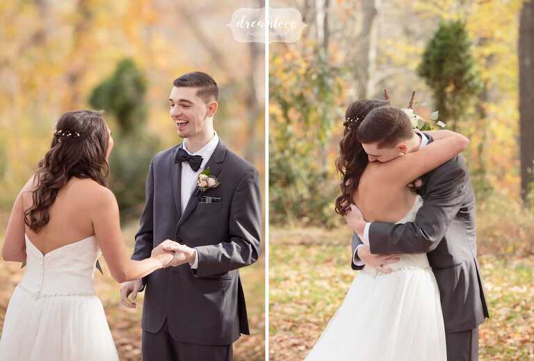 The groom has an emotional reaction to seeing the bride for the first time at this CT outdoor wedding venue in the woods.