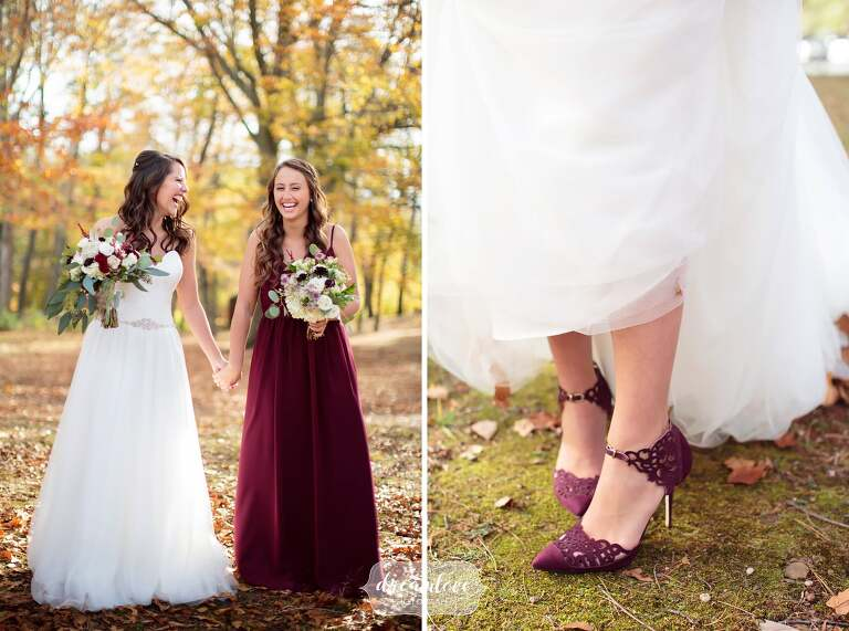 Bride and her sister in a burgundy bridesmaid dress in the woods before this CT wedding.