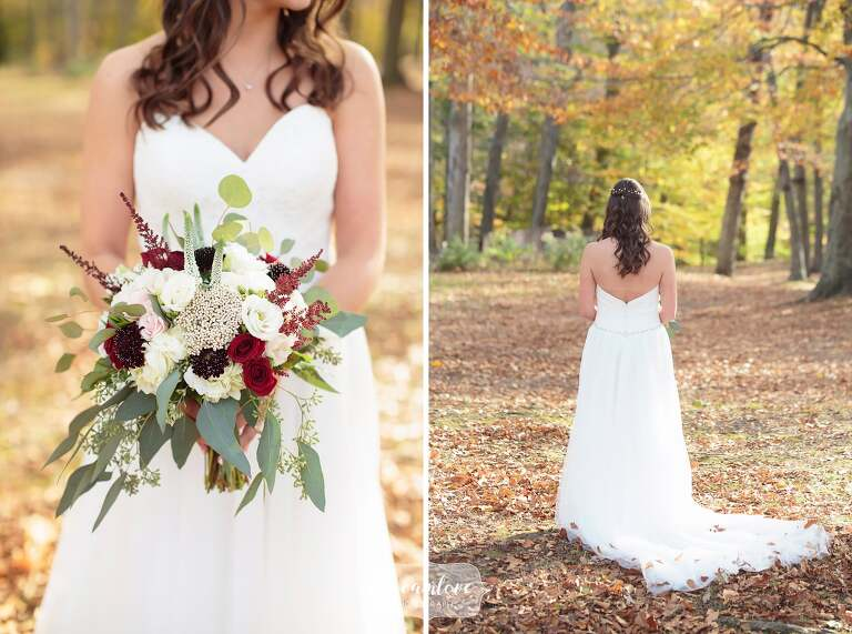 Fall wedding bouquet with burgundy and white flowers in Middletown, CT.