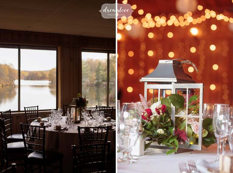 Rustic wedding decor inside the Pavilion on Crystal Lake in Middletown, CT.