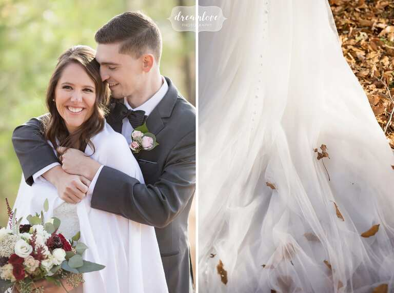 The bride and groom cuddle in the woods after their outdoor ceremony at the Crystal Lake Pavilion.
