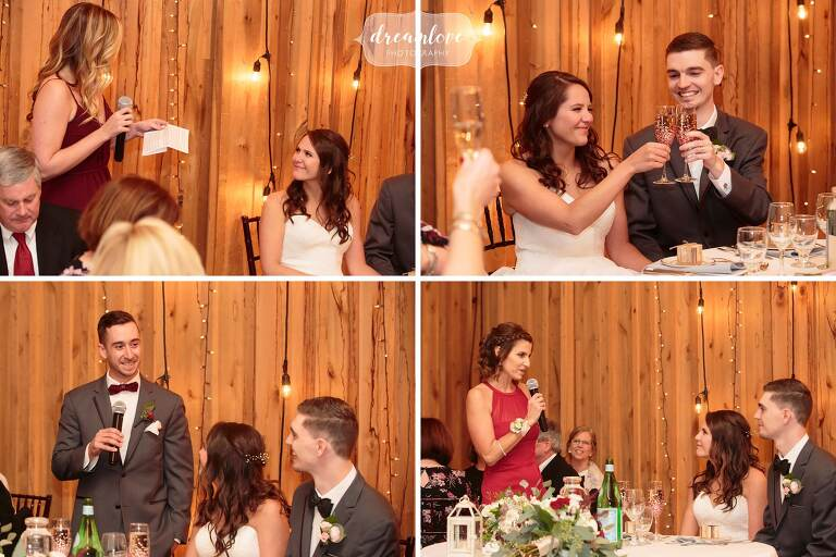 The wedding toasts during this rustic wedding reception at Crystal Lake Pavilion.