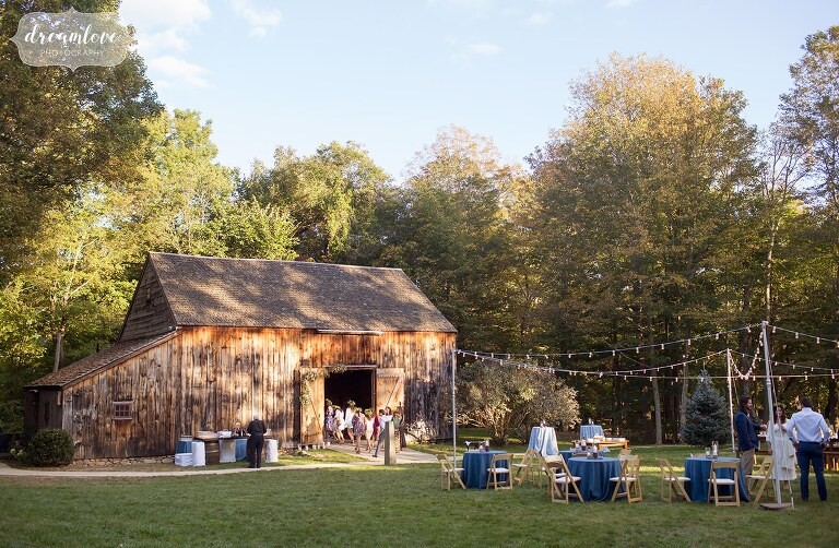 The rustic Gould Barn wedding venue set for a rehearsal dinner in Topsfield, MA.