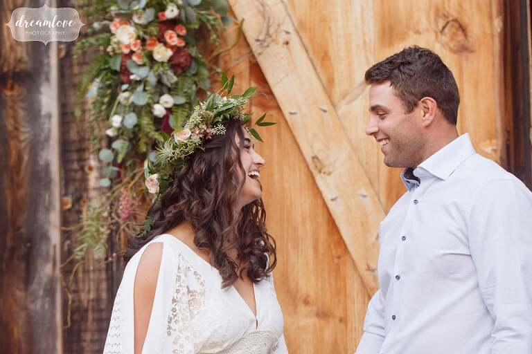 This bride to be wore a bohemian crocheted dress at her rehearsal dinner at the Gould Barn.