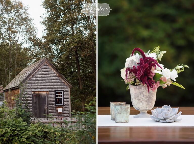 Rustic rehearsal dinner venue for an outdoor evening in Topsfield, MA.