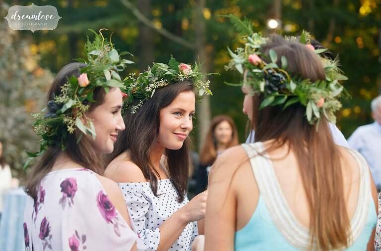 Bohemian bridesmaids in flower crowns in Topsfield, MA.