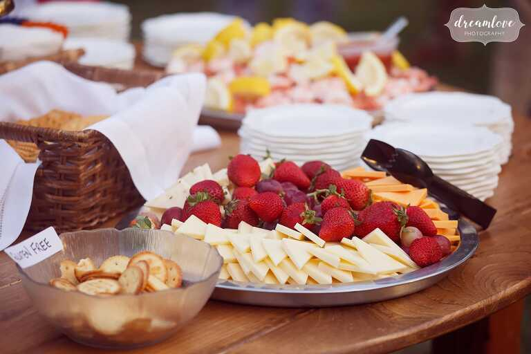 Fresh fruit and cheese plate at this Gould Barn rehearsal dinner.