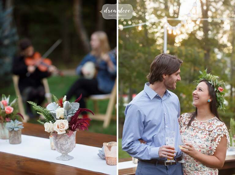 Guests mingle at this outdoor rehearsal dinner at the Gould Barn.