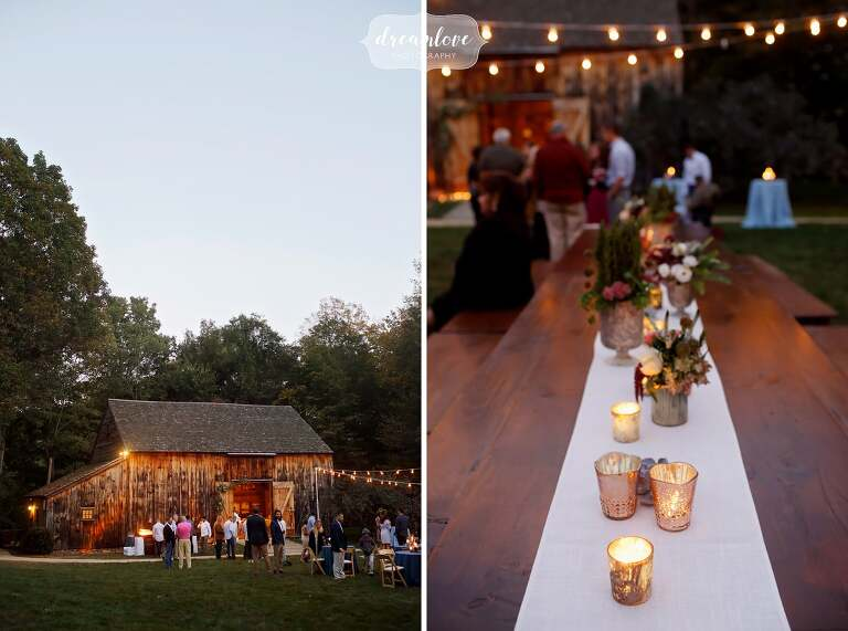 This is a great outdoor rehearsal dinner location with a barn on the North Shore.