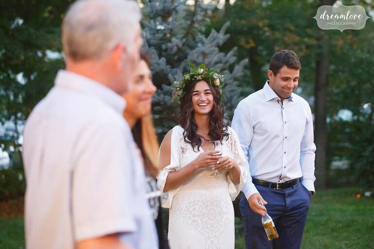 The father of the groom gives a toast at this Gould Barn rehearsal dinner.