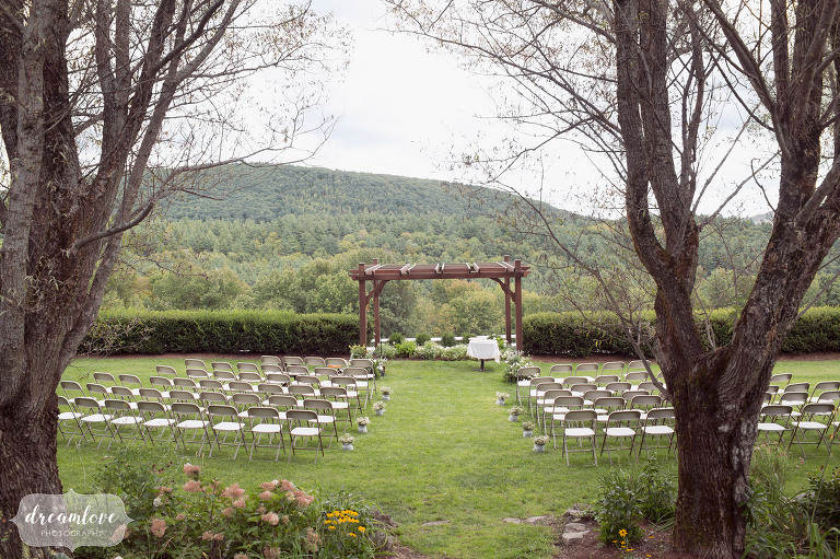 The outdoor ceremony site at the Warfield House Inn in western MA.