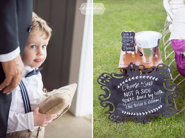 Funny moment of the ring bearer at this western MA wedding venue at Berkshire East Resort.