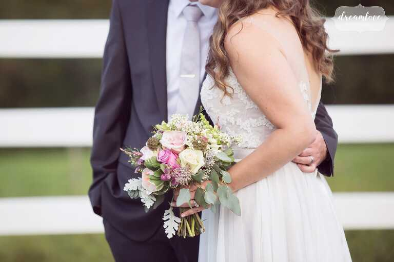 A pastel wedding bouquet at the Warfield House Inn.