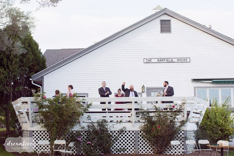 The white barn restaurant at the Warfield House Inn.