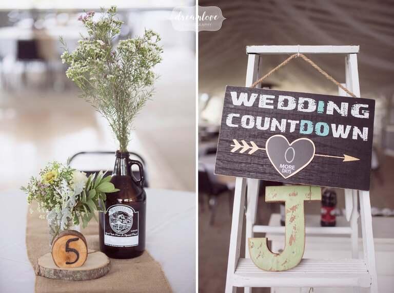 Rustic wedding decor ideas at this western MA wedding at the Warfield House Inn.