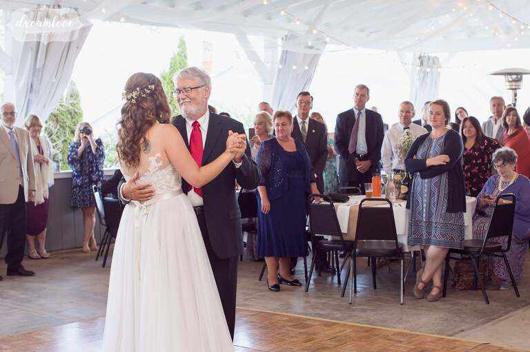 This father and daughter had their dance in the white barn at the Warfield House Inn.