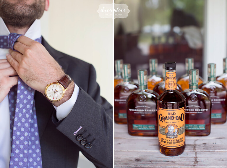 Whiskey and tying ties at this NY camp wedding on Shelter Island.