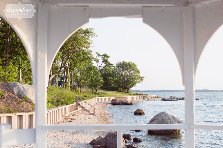 View from the gazebo of the Camp Quinipet Retreat Center for a summer wedding on the ocean.