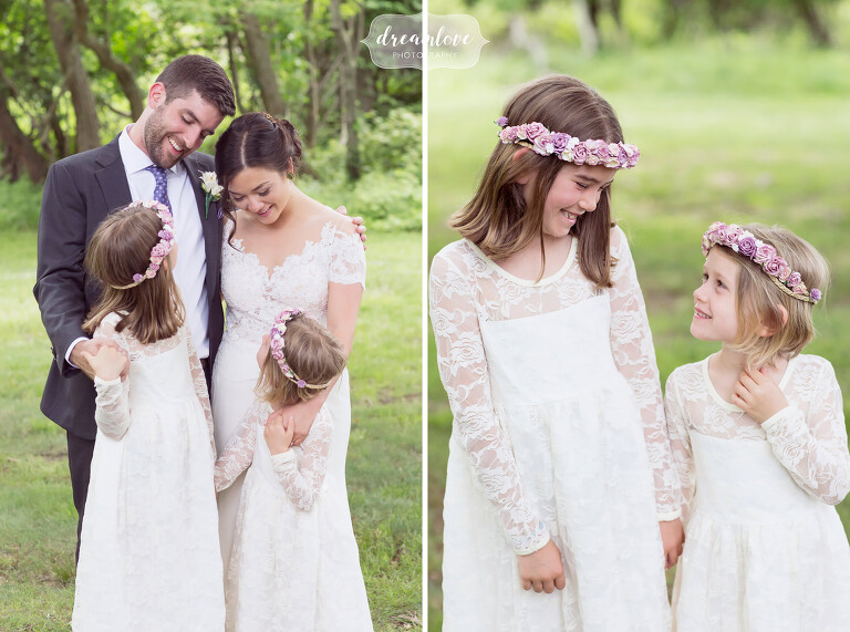 Flower girls in the field at this Camp Quinipet wedding on Shelter Island.