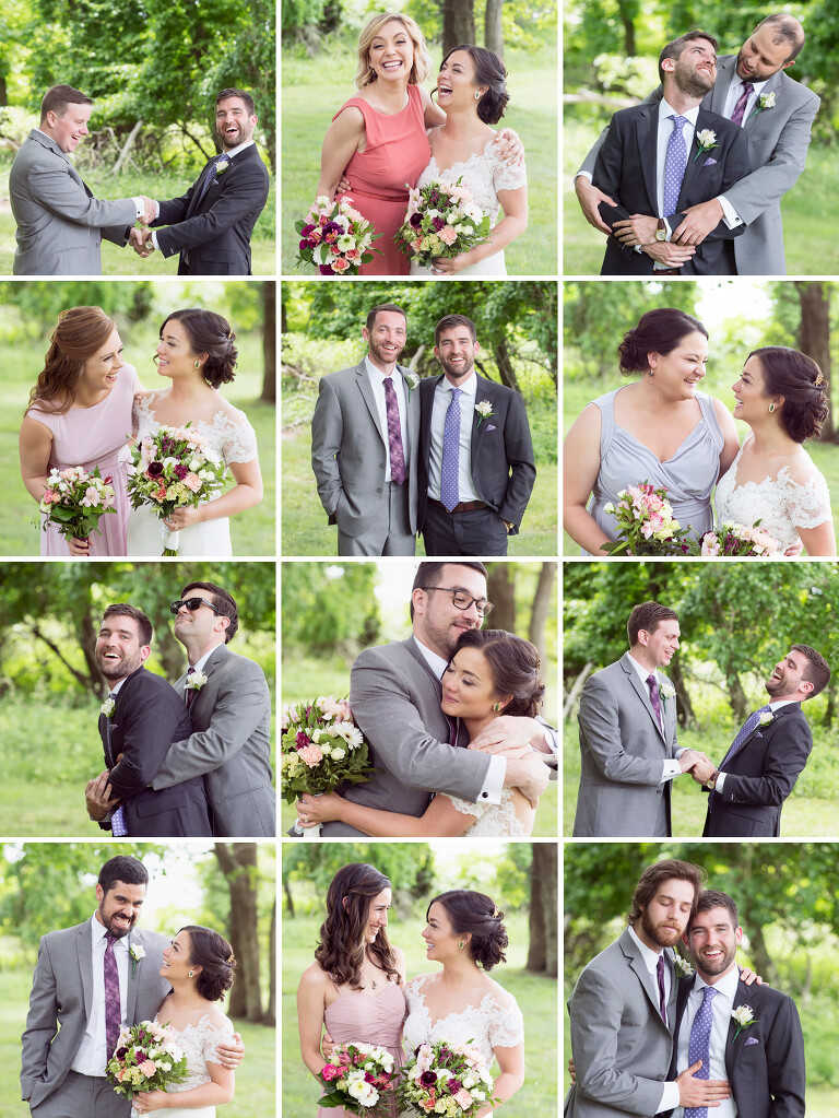 Funny grid of the bride and groom with each member of wedding party.