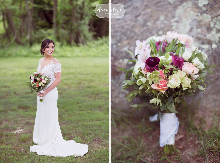 Flattering pose of the bride with her bouquet at this NY camp wedding on Shelter Island.