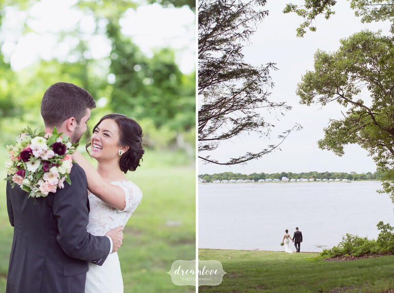 Ethereal portrait of the bride with her arms wrapped around groom at this NY camp wedding.