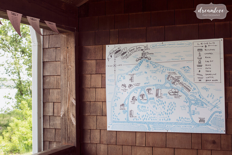 Hand drawn map of the Quinipet Camp and Retreat Center for a summer wedding on Shelter Island.