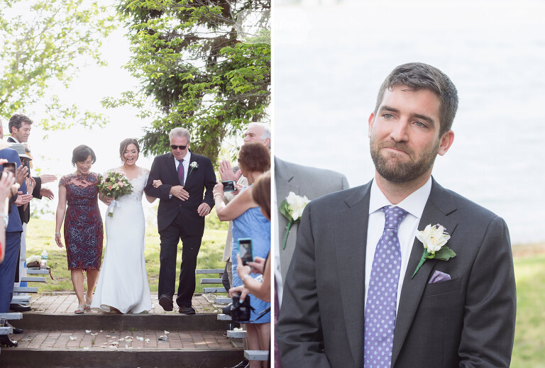 As bride is escorted down the aisle by her parents, the groom watches with tears in his eyes.