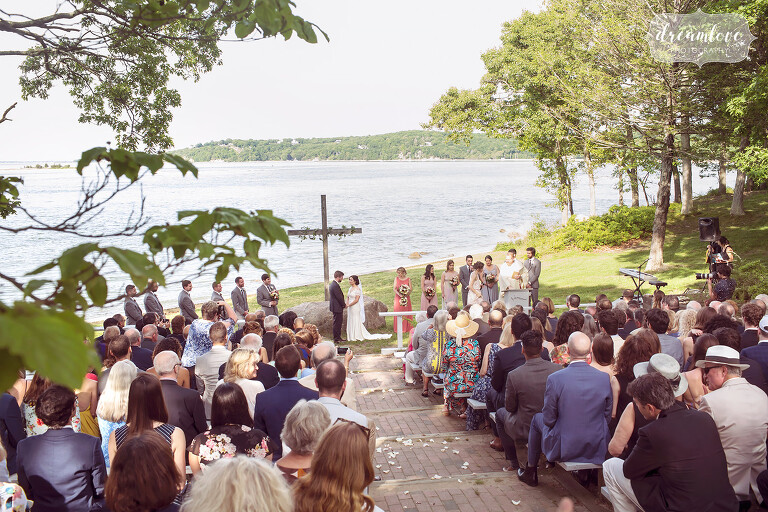 View of the outdoor ceremony space at Camp Quinipet on Shelter Island, NY.