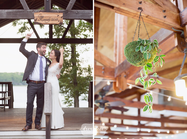 Hanging ivy baskets as decor at this rustic NY camp wedding.
