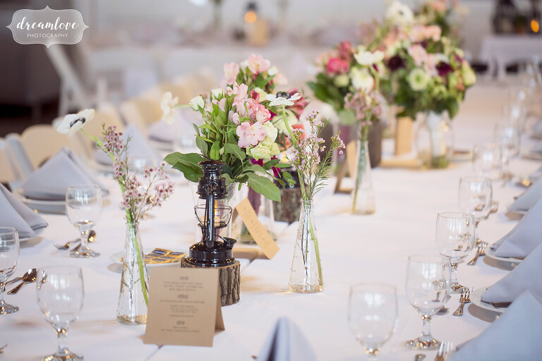 Beautiful wildflowers on the table at this NY camp wedding.