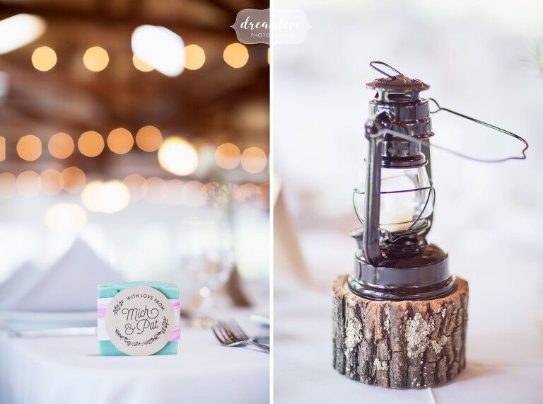 The bride made these adorable and colorful soaps as guest favors at her NY camp wedding.