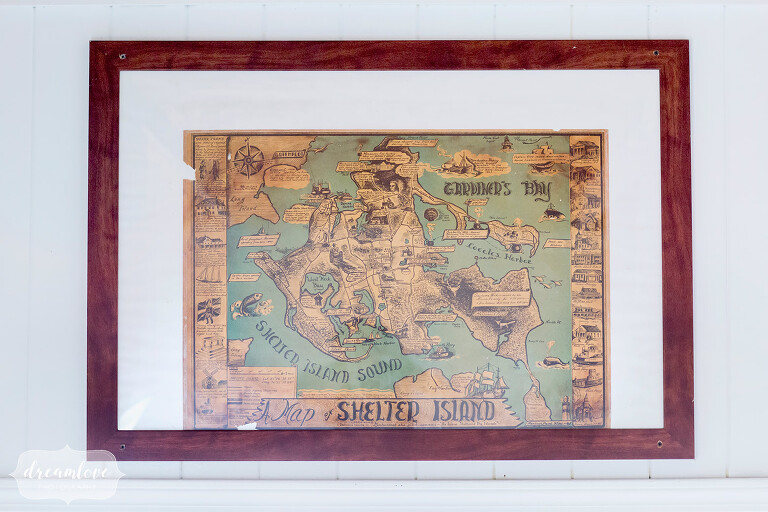 Vintage map as wedding decor at this Shelter Island camp wedding in NY.