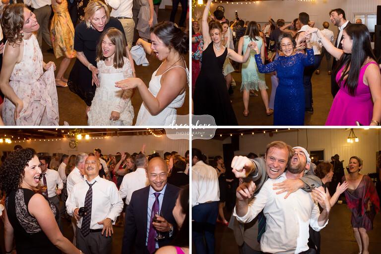 Guests dance at Camp Quinipet wedding.